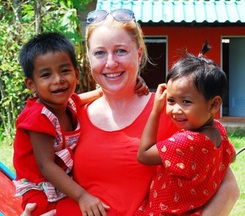 Volunteer Jane with Street Kids
